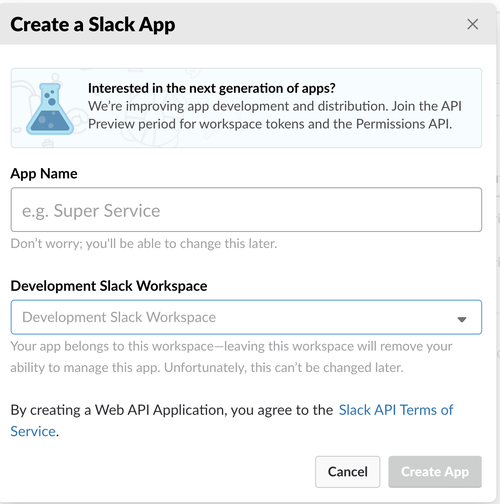 Dialog stepping through creating a Slack App