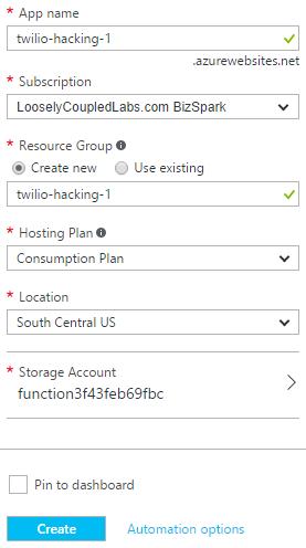 Azure - Function app details