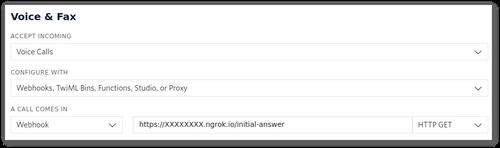 Configuration du webhook dans la console Twilio