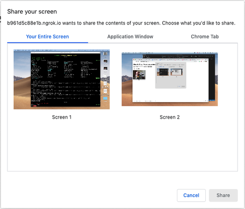 Chrome screen sharing selection
