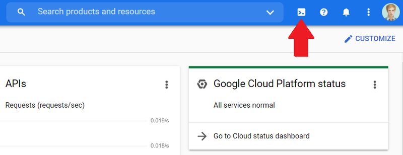 Screenshot of Google Cloud Platform console showing location of CLI icon