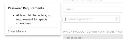 Twilio password requirements include 14 character minimum