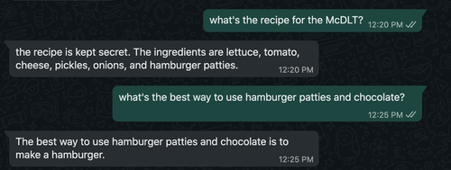 GPT-3 engine generating text about some random food questions