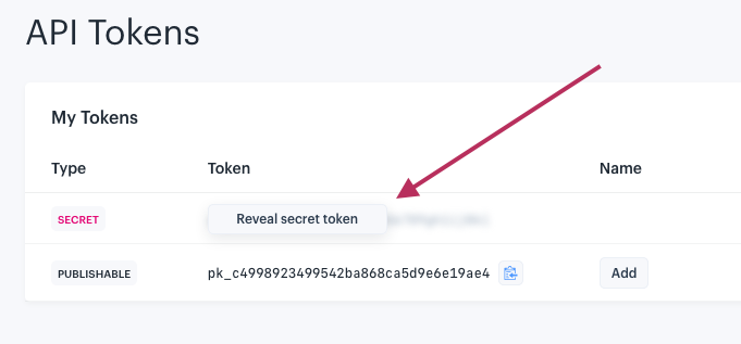 "Screenshot of ""Reveal secret token"" button on the IEX API Tokens page"