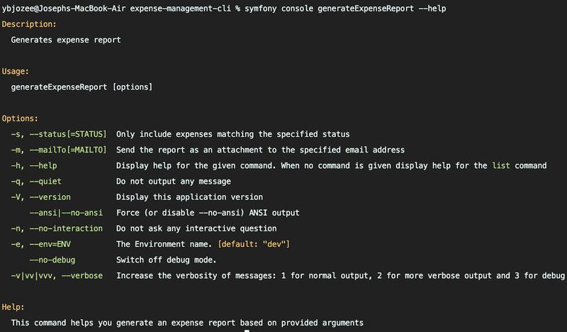View generateExpenseReport's default options