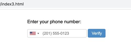 campo de entrada de número de teléfono con lista desplegable con la bandera de los EE. UU. y el código del país, que incluye texto de marcador de posición para un número de teléfono