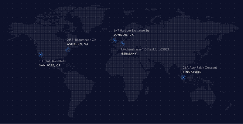 Map showing Twilio Interconnect locatiions in the worldns