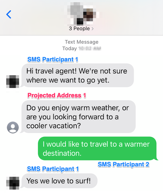 Conversation between 1 Chat-based Participant with projected address and two SMS Participants joining with their mobile number