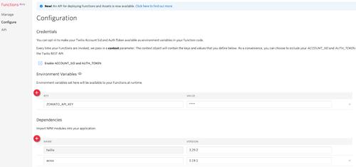 Página de configuração do Twilio Functions