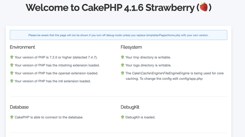 Welcome to CakePHP 4.1.6 Strawberry