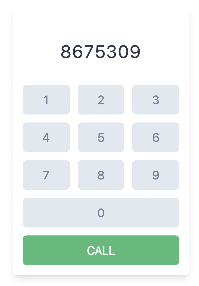 Dialpad with numbers