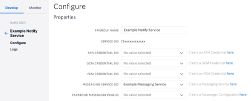notify service in the twilio console