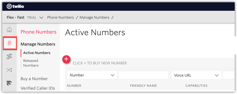 Buy a new phone number with Twilio