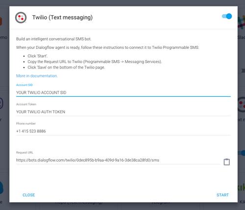 Tela de configuração do DialogFlow para ativação da integração com Twilio e definição das chaves e link do webhook.