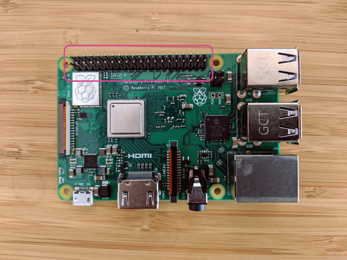 A Raspberry Pi sits on a table. There is a pink circle around the GPIO pins, to indicate their position on the board.