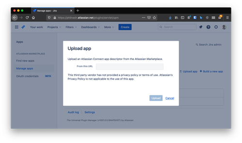 Enter the URL for the atlassian-connect path in the Upload app modal.