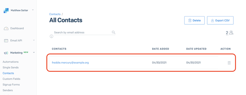 View contacts in your SendGrid All Contacts list