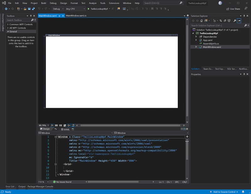 Visual Studio 2019 WPF appllication screenshot