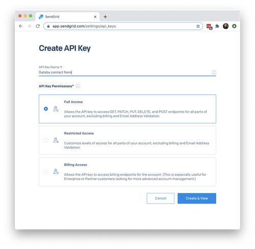 "screenshot of the SendGrid page for creating an API key. The key name is ""Gatsby contact form"" and the permissions are ""Full Access."""