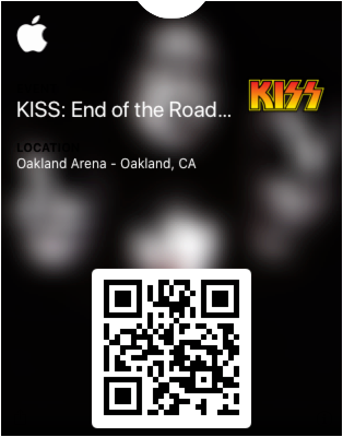 QR code file of the KISS concert in Oakland, CA