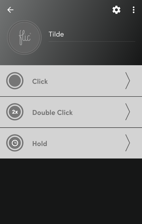"""Screenshot of the Flic button UI on a phone. There are three options in a list, representing the button gestures: """"Click"""", """"Double Click"""", and """"Hold."""" It really doesn't matter which one you pick."""