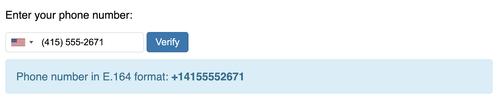Telefonnummereingabefeld mit Darstellung des Ergebnisses im E.164-Format