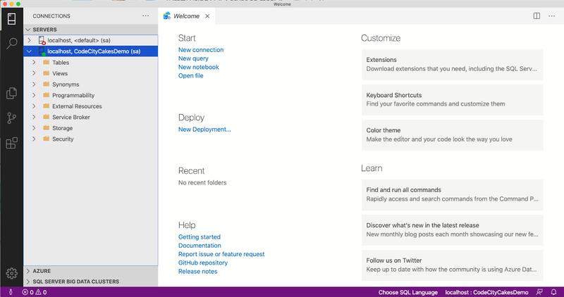 screenshot of Azure Data Studio