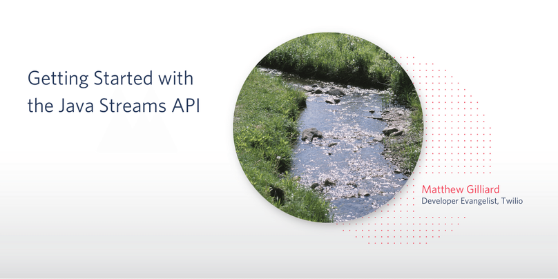 Blog Header: Getting Started with the Java Streams API by Matthew Gilliard, Developer Evangelist