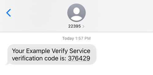 text message from shortcode 22395 with the message Your Example Verify Service verification code is 376429