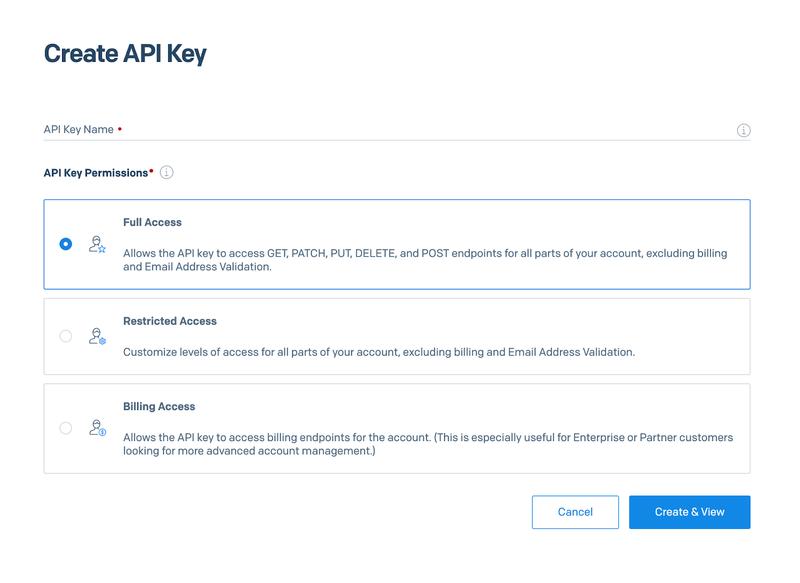 Create a SendGrid API key