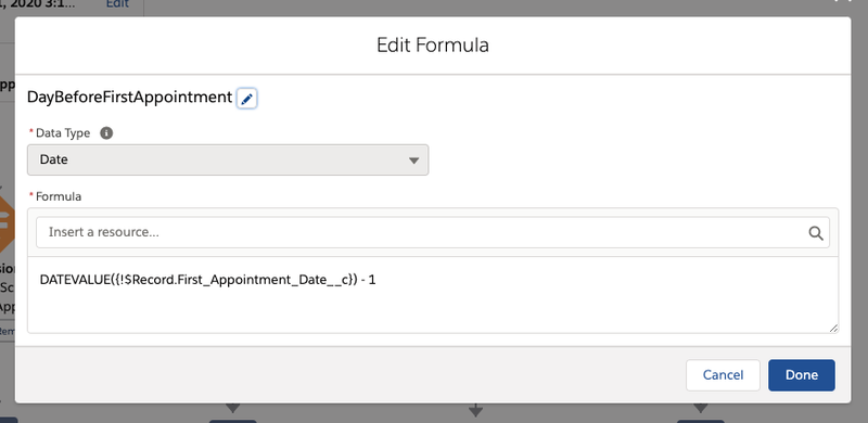 Editing the formula for finding the date one day before the next appointment.