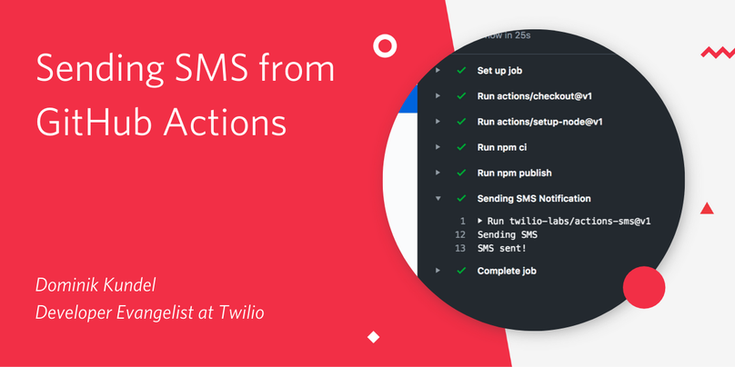 "Decorative header image ""Sending SMS from GitHub Actions"""