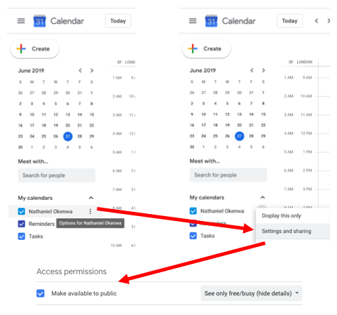 screenshot make calendar available to public