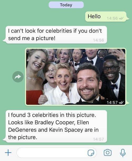 Beim Senden des Oscars-Fotos von Ellen DeGeneres voller Prominenter entdeckt Rekognition Bradley Cooper, Ellen DeGeneres und Kevin Spacey.