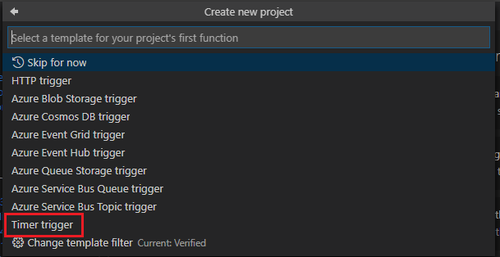 select timer trigger project type