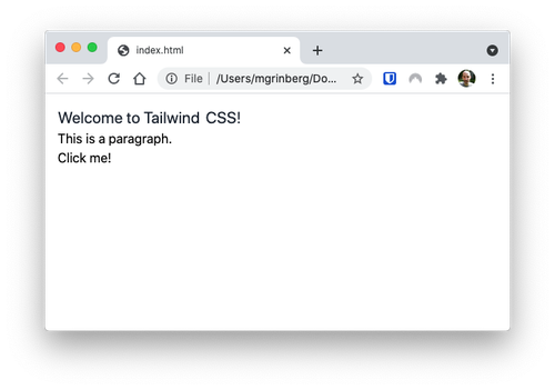 TailwindCSS styled page with an unstyled button
