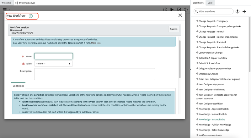 A screenshot of the New Workflow window that appears in the ServiceNow dashboard