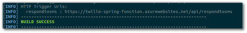 """Screenshot of the last part of the maven output showing """"BUILD SUCCESS"""" in green bold."""