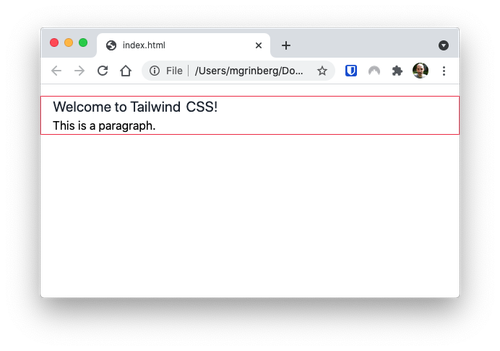 TailwindCSS styled page with margins and padding