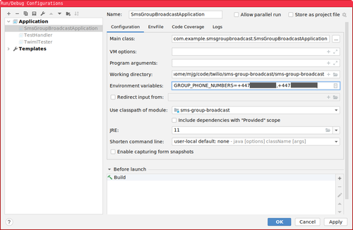 Screenshot showing how to set environment variables in IntelliJ IDEA