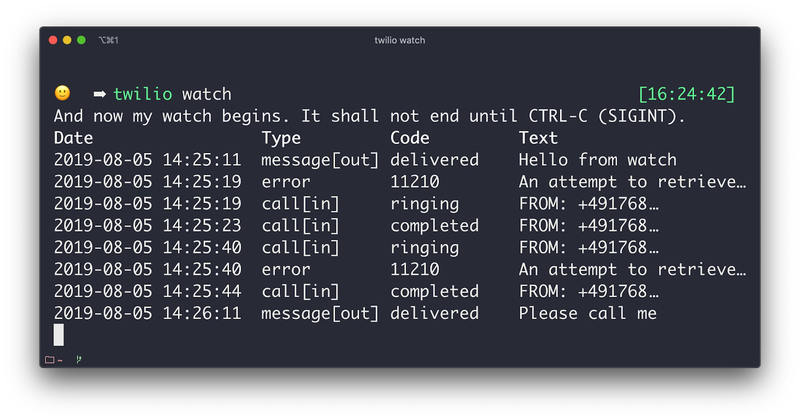 Result of running `twilio watch` showing all Twilio activity in the terminal
