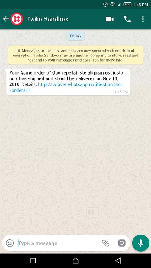 Notificação de pedido do WhatsApp