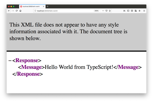 "browser window screenshot with TwiML and a message ""Hello World from TypeScript!"" on it"