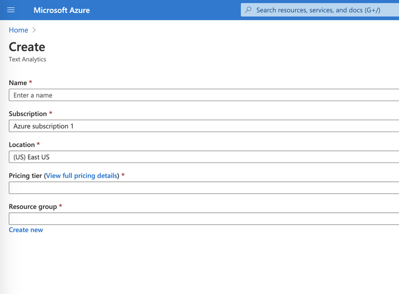 Azure create Text Analytics Resource