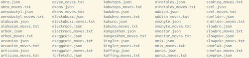 The ouput of an ls command, displaying json files and txt files side by side