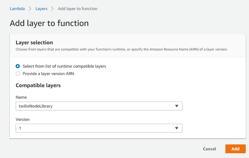 Add a layer to the Lambda function