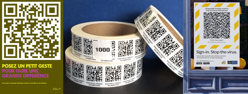 Some examples of QR codes.