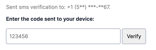 one time passcode form field with obfuscated phone number for 2FA or ongoing login use case