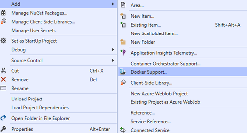Visual Studio context menu for adding Docker Support screenshot