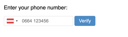 phone number input showing the austrian flag